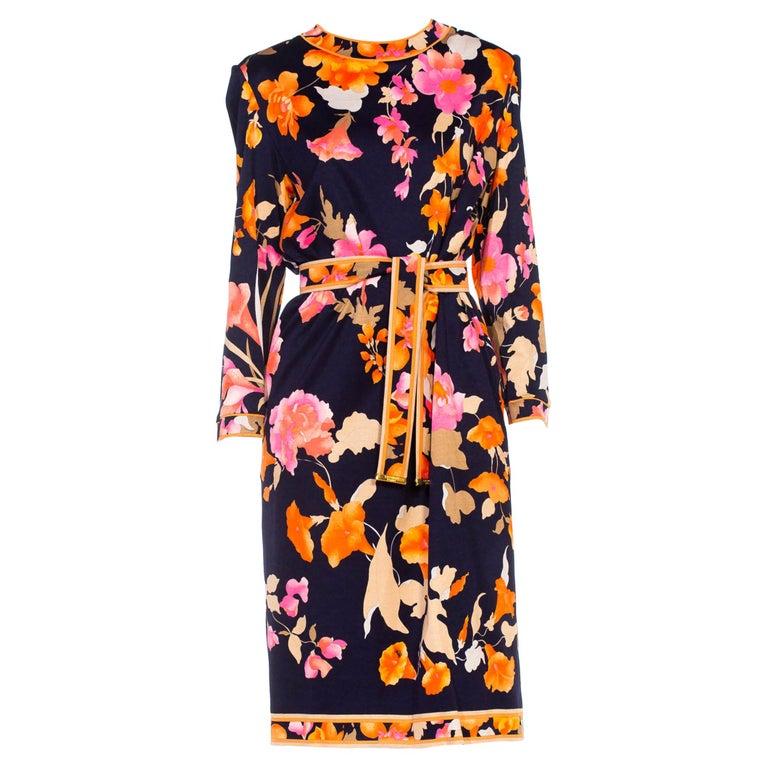 1980S LEONARD Multicolor Silk Jersey Long Sleeve Floral Dress With Belt For Sale