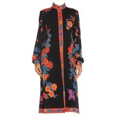 1980S LEONARD Silk Jersey Floral Long Sleeve Dress