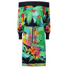 1980s Leonard Tropical Print Knitted Dress With Drop Waist And Batwing Sleeves