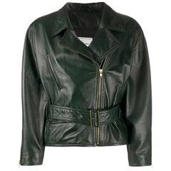 1980s Leonardo Green Leather Belted Jacket