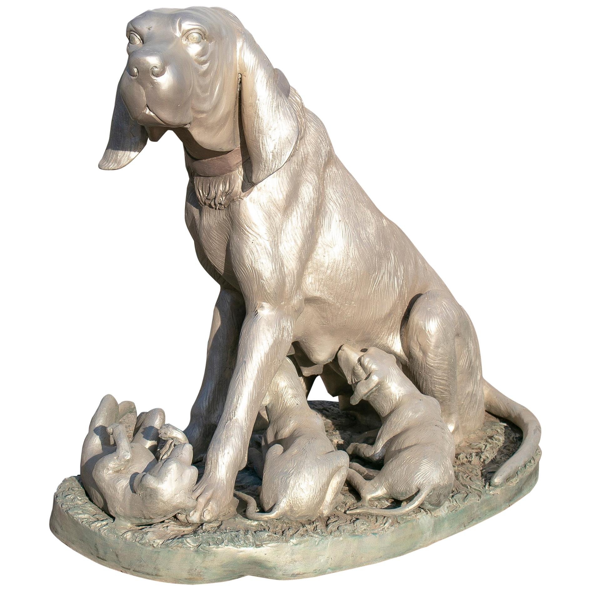 1980s Life-Size Dog with Cubs Bronze Sculpture