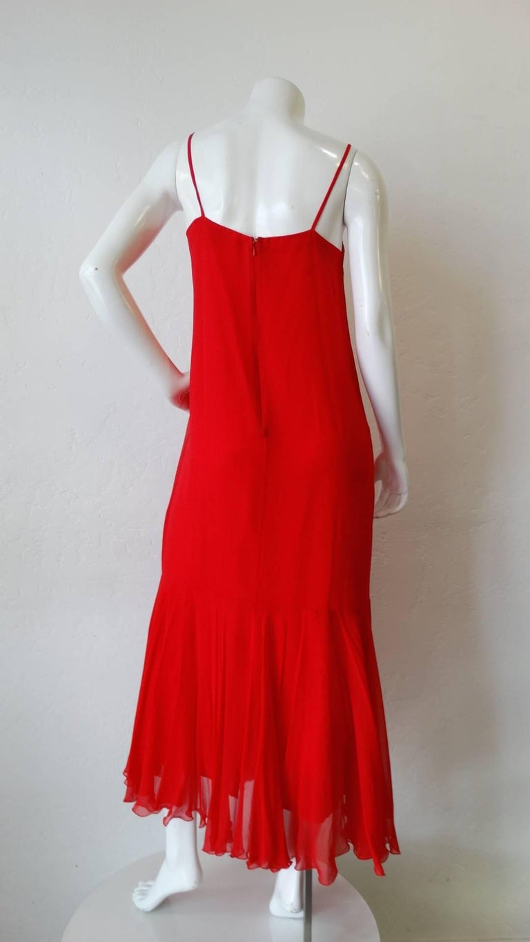 1980s Lillie Ruben Red Chiffon Slip Dress At 1stdibs