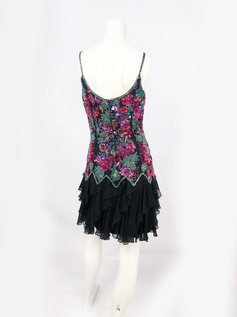 Women's 1980s Lillie Rubin Black Beaded Silk Cocktail Dress For Sale