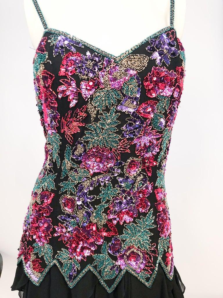 1980s Lillie Rubin Black Beaded Silk Cocktail Dress For Sale 1