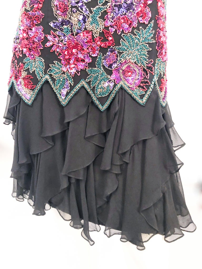 1980s Lillie Rubin Black Beaded Silk Cocktail Dress For Sale 2