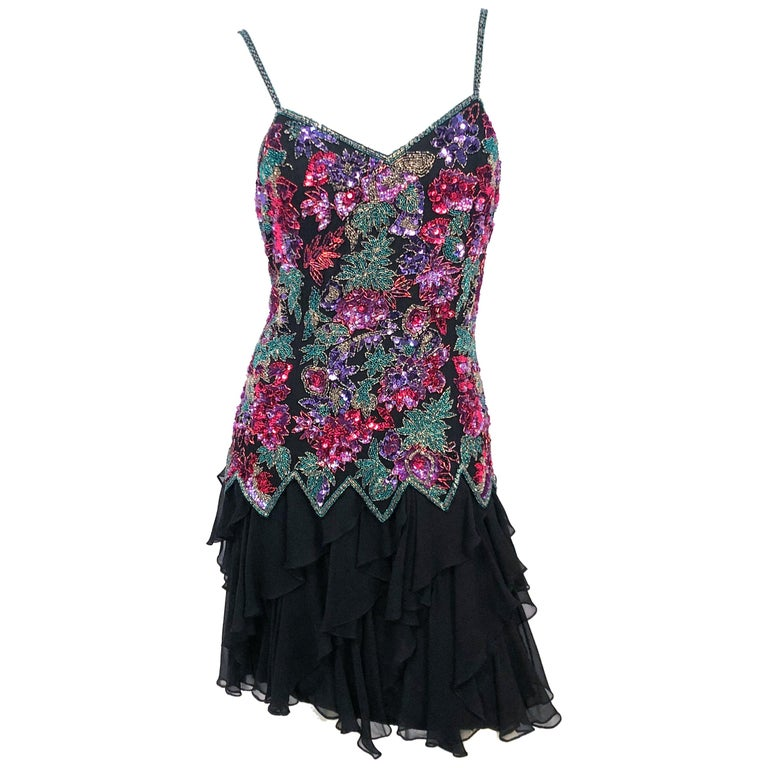 1980s Lillie Rubin Black Beaded Silk Cocktail Dress For Sale