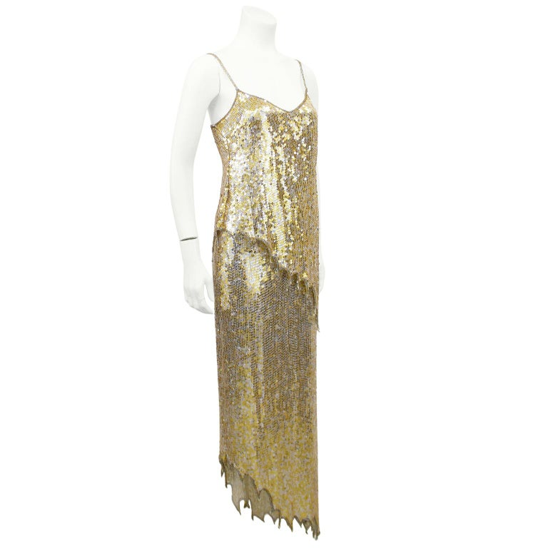 Brown 1980s Lillie Rubin Gold and Silver Sequin Ensemble  For Sale