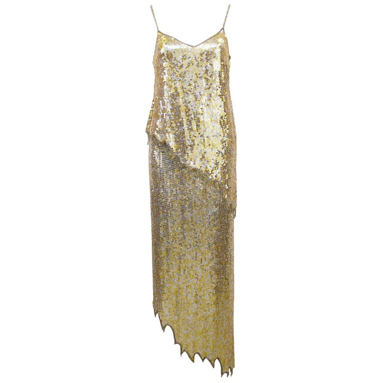 1980s Lillie Rubin Gold and Silver Sequin Ensemble  For Sale