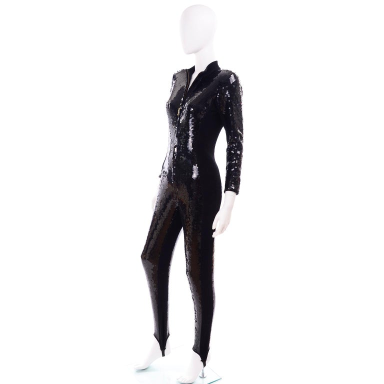1980s Lillie Rubin Vintage Black Sequin Jumpsuit Catsuit With Stirrups In Excellent Condition For Sale In Portland, OR
