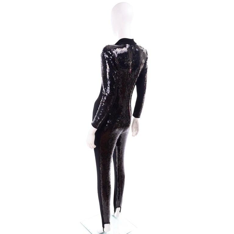 Women's 1980s Lillie Rubin Vintage Black Sequin Jumpsuit Catsuit With Stirrups For Sale