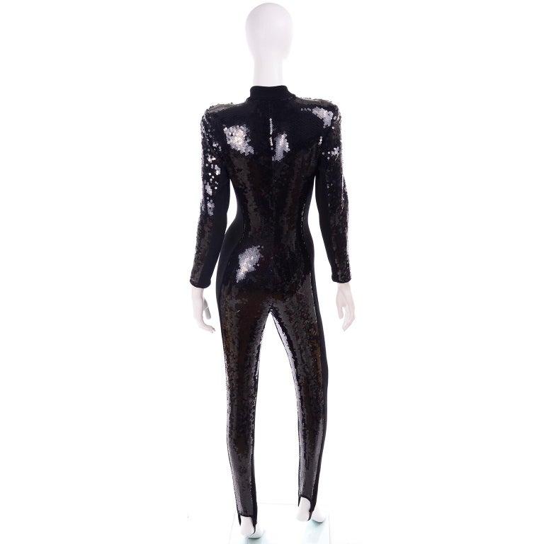 1980s Lillie Rubin Vintage Black Sequin Jumpsuit Catsuit With Stirrups For Sale 1