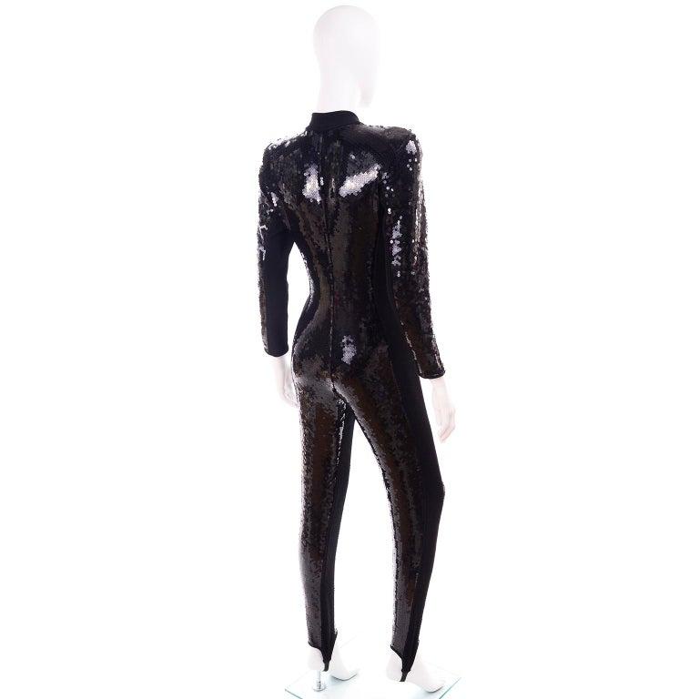 1980s Lillie Rubin Vintage Black Sequin Jumpsuit Catsuit With Stirrups For Sale 2