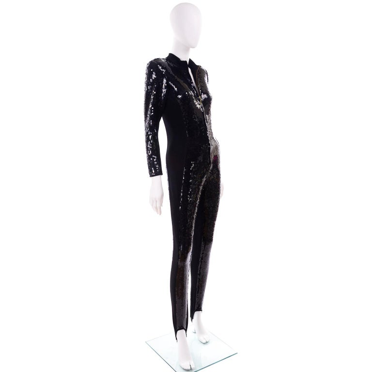1980s Lillie Rubin Vintage Black Sequin Jumpsuit Catsuit With Stirrups For Sale 3