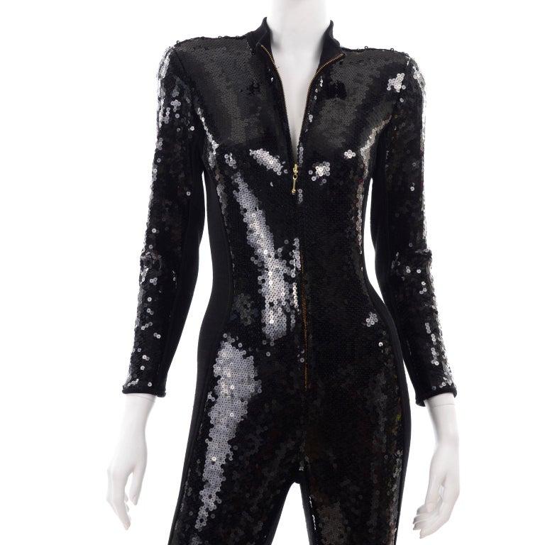 1980s Lillie Rubin Vintage Black Sequin Jumpsuit Catsuit With Stirrups For Sale 4