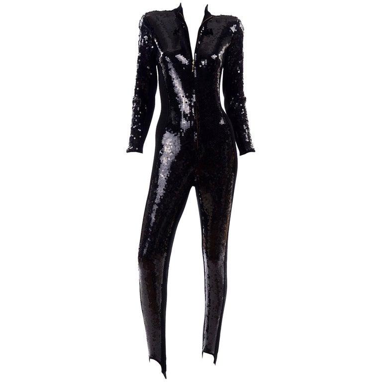 1980s Lillie Rubin Vintage Black Sequin Jumpsuit Catsuit With Stirrups For Sale