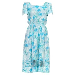 1980S LILLY PULITZER Light Blue Floral Print Cotton Basket Weave Hem Dress With