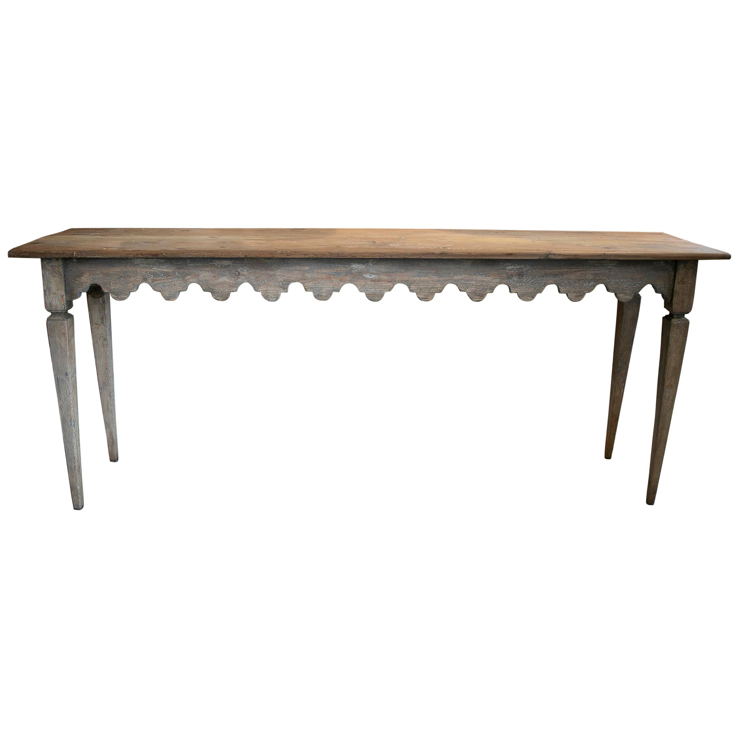 1980s Lime Washed Wooden Console Table w/ Ornamental Geometric Skirt