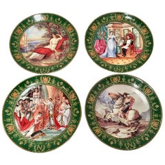 1980s Limoge France Hand Painted Napoleon & Josephine Collector Plates S/4