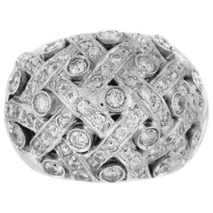 1980s Lines and Round Setting with Diamonds Ring