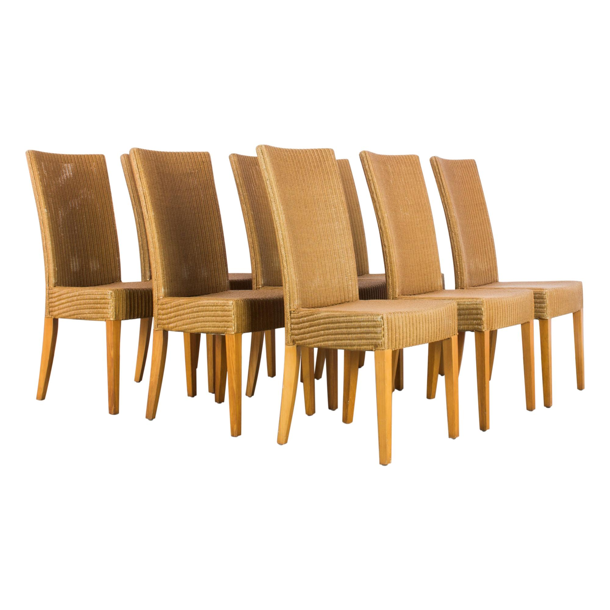 1980s Lloyd Loom Wooden Dining Chairs, Set of Eight