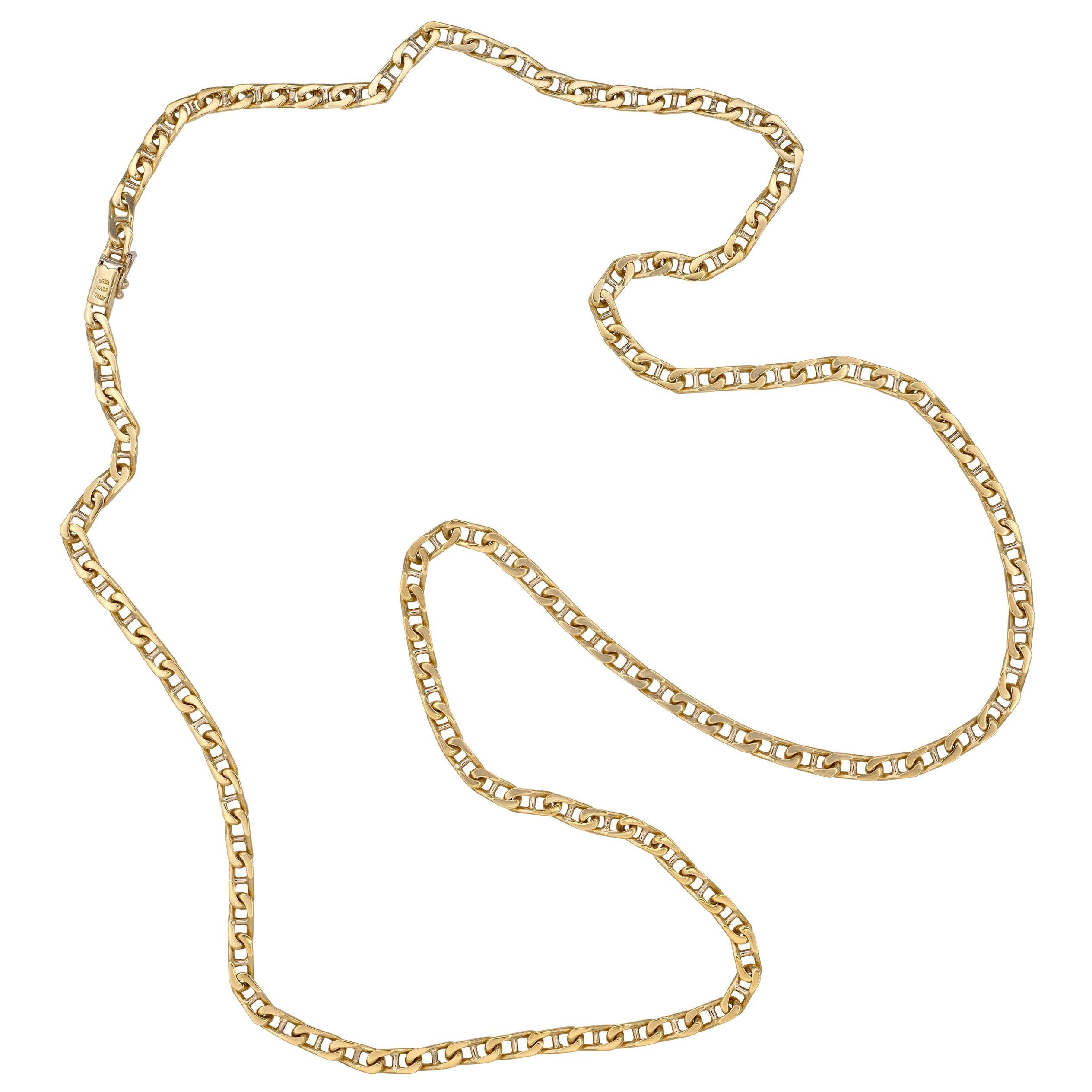 1980s Long Bulgari Gold Mariner's Link Chain