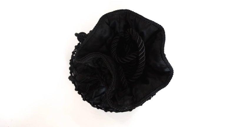 1980s Lord & Taylor Black Satin Tassel Drawstring Purse Crossbody Shoulder Bag For Sale 2