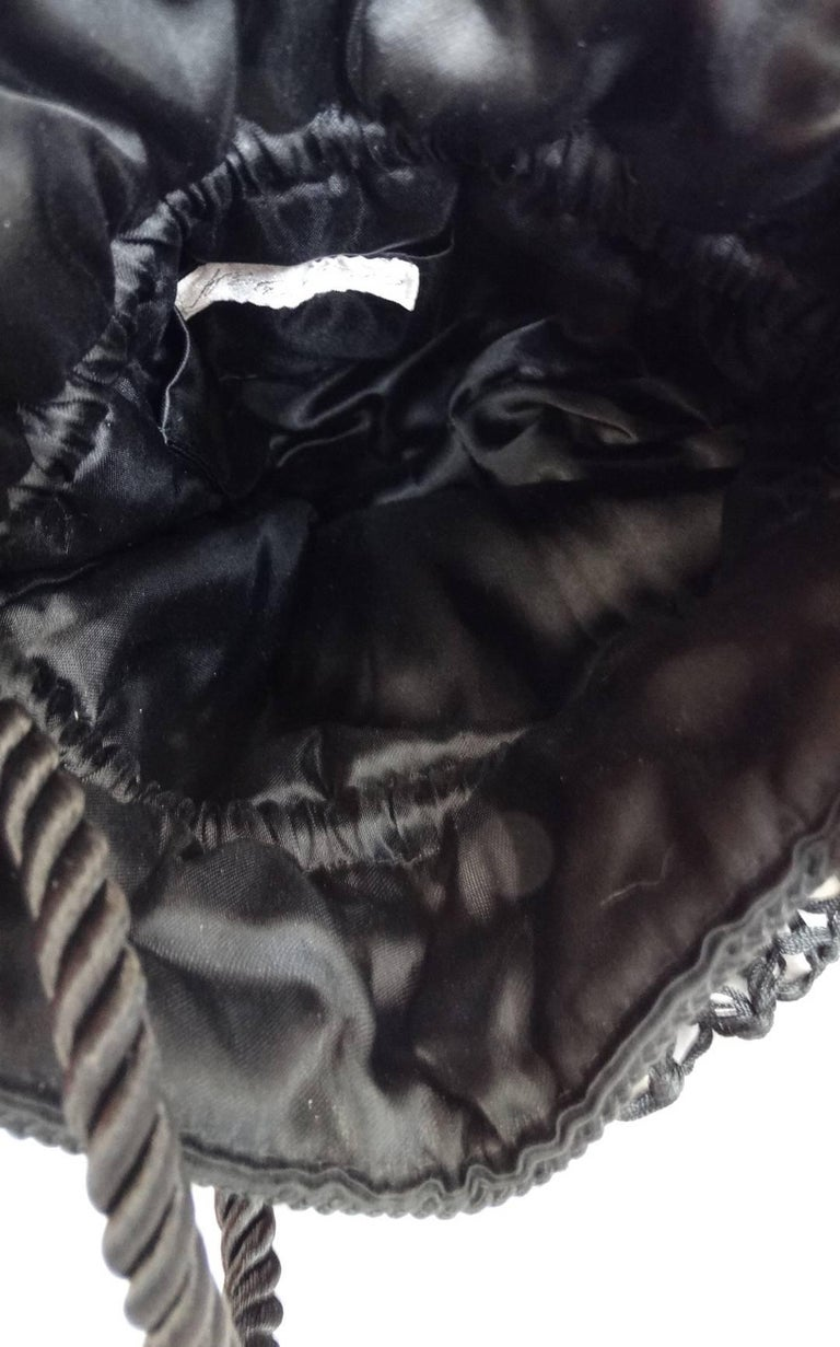 1980s Lord & Taylor Black Satin Tassel Drawstring Purse Crossbody Shoulder Bag For Sale 3