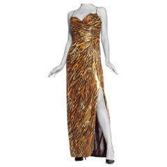 1980's Loris Azzaro Couture Gold Tiger Buster Gown