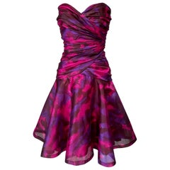 1980s Loris Azzaro Couture Pink Printed Silk Strapless Mini Dress