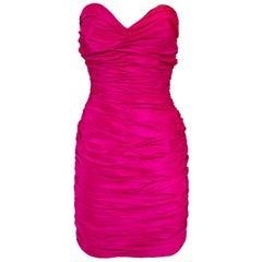 1980s Loris Azzaro Hot Pink Silk Taffeta Strapless Mini Dress w Bustle Back