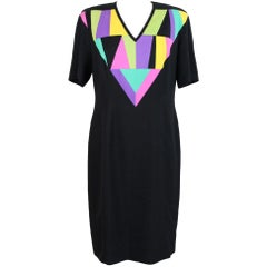 1980s Louis Feraud Black Silk Geometric Summer Dress