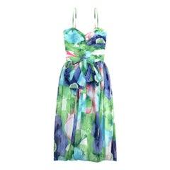 1980s Louis Feraud Cotton Floral Print Dress