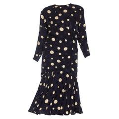 1980S LOUIS FERAUD Navy Blue & White Silk Crepe De Chine Dress