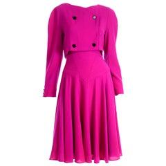 1980s Louis Feraud Vintage Magenta Pink Dress Size 6