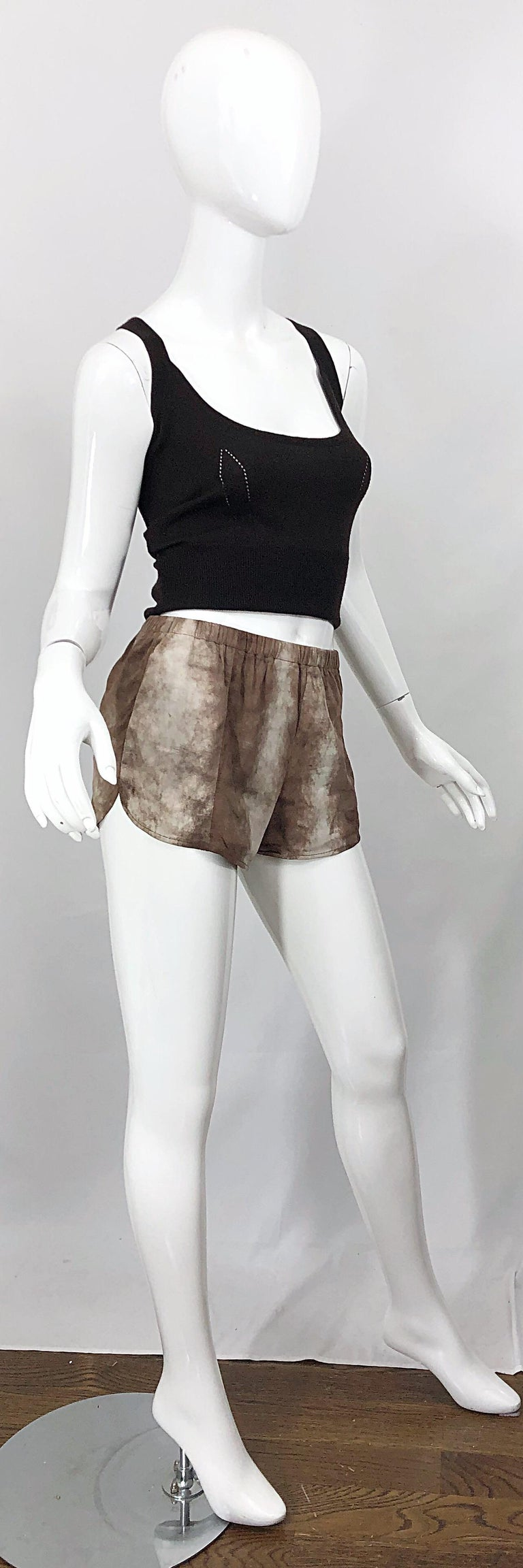 1980s Love, Melody Sabatasso Sheepskin Leather Brown Vintage 80s Hot Pant Shorts For Sale 8