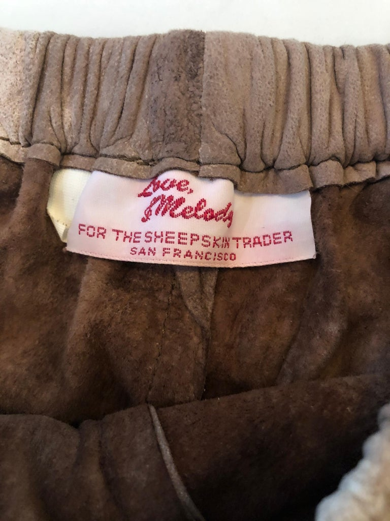1980s Love, Melody Sabatasso Sheepskin Leather Brown Vintage 80s Hot Pant Shorts For Sale 2