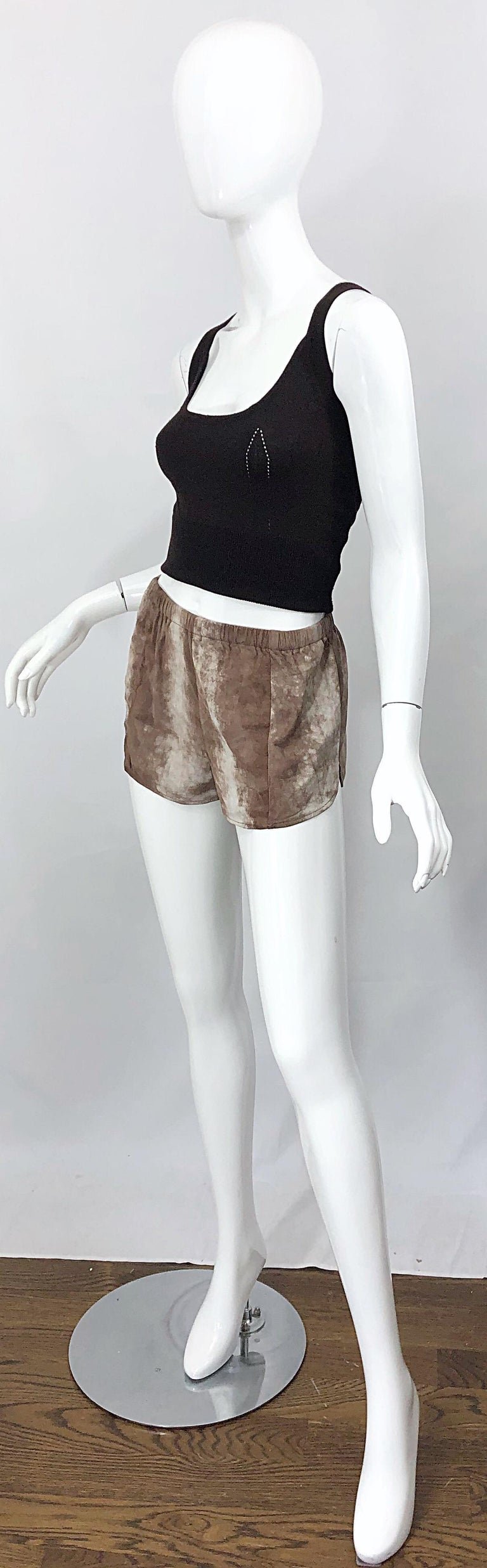 1980s Love, Melody Sabatasso Sheepskin Leather Brown Vintage 80s Hot Pant Shorts For Sale 5