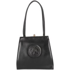 1980s Luciano Soprani Black Leather Handbag
