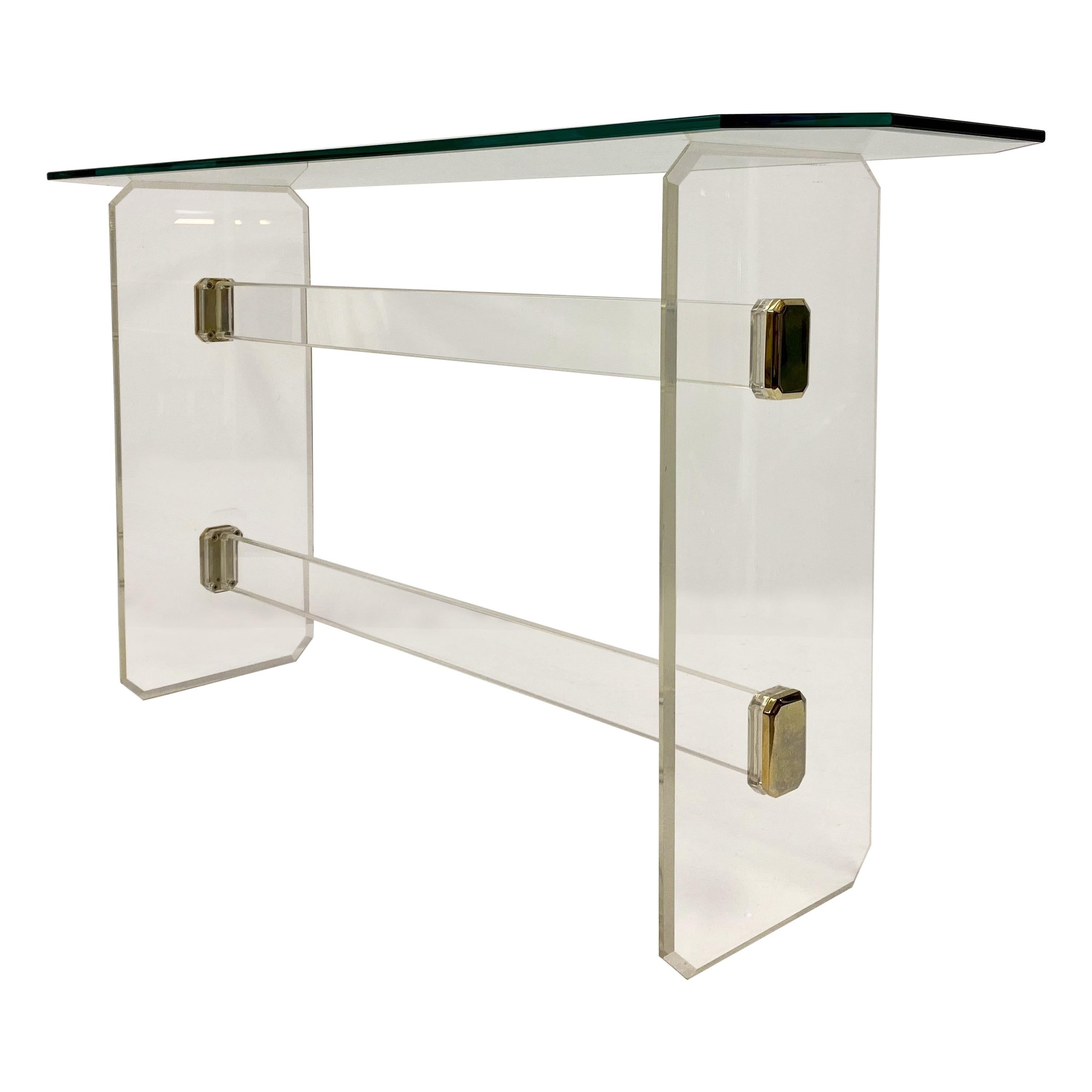 1980s Lucite and Brass Console Table