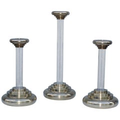 1980s Lucite and Brass Large Candleholders