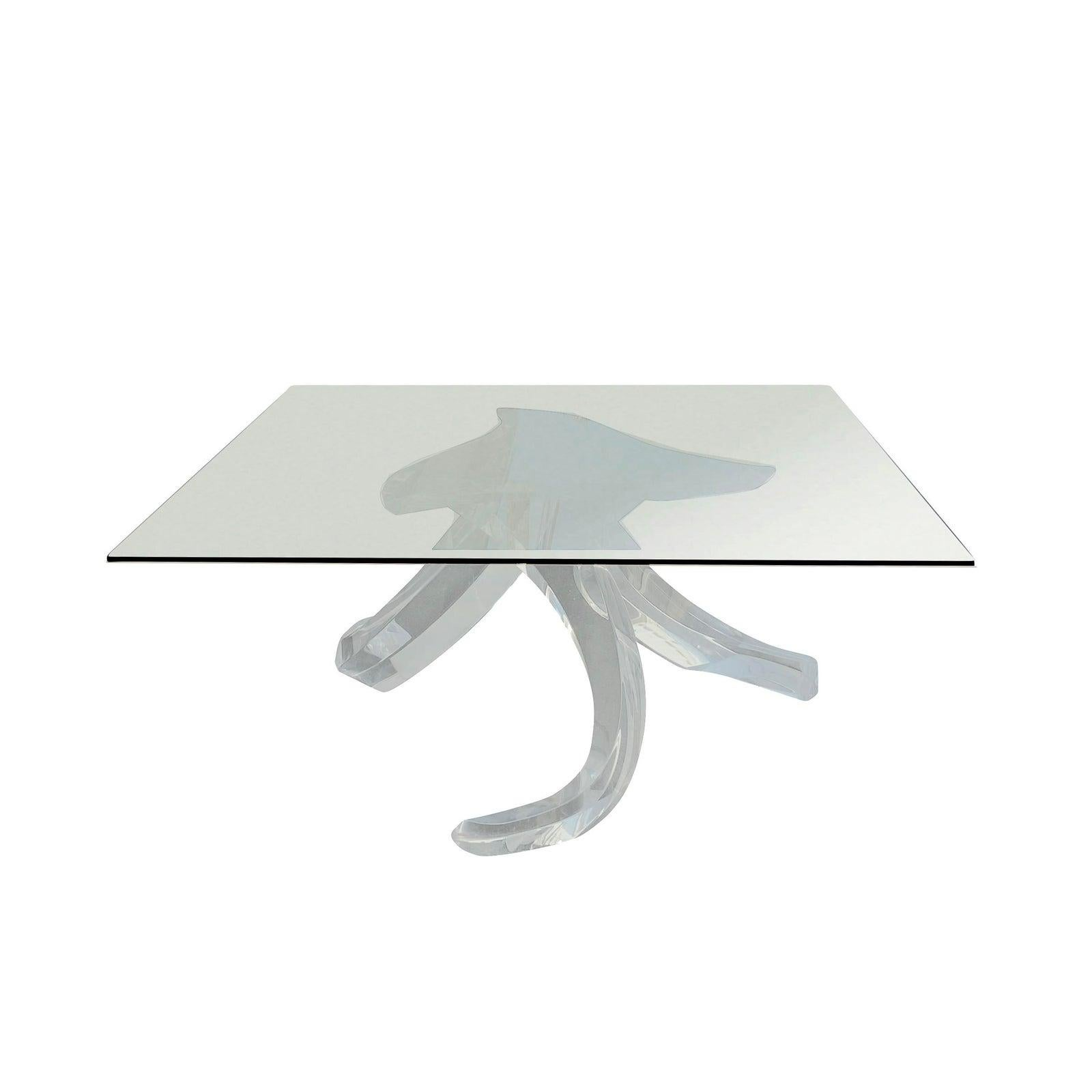 1980s Lucite and Glass Sculptural Abstract Coffee Table by Shlomi Haziza