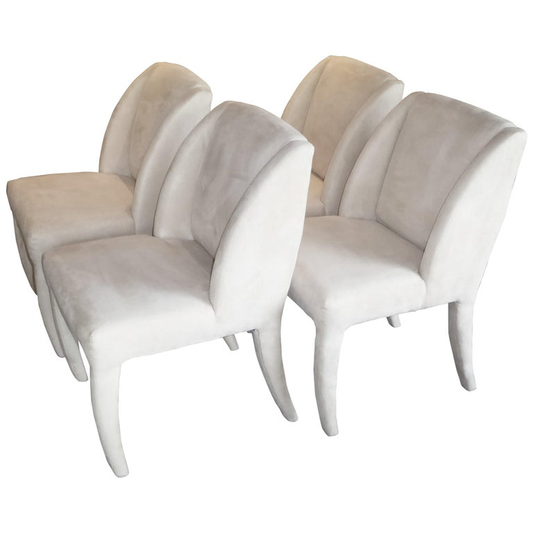 1980s Luxe Modern Ultrasuede Dining Chairs by Directional For Sale