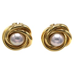 1980s Mabe Pearl 18 Karat Gold Ear Clips