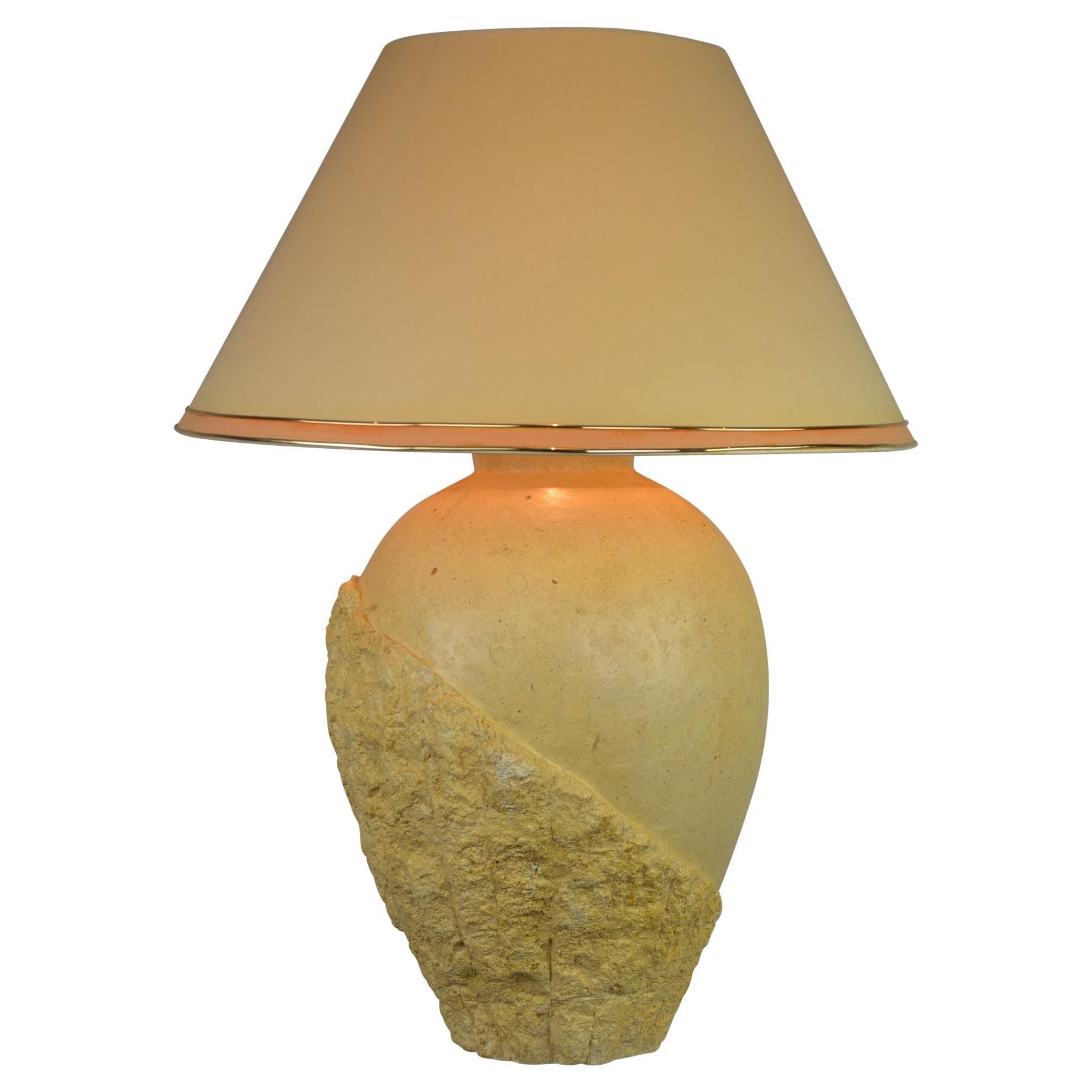 1980s Mactan Stone Table Lamp
