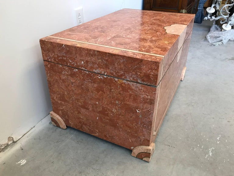 Hollywood Regency Robert Marcius for Casa Bique Tesselated Stone Trunk Coffee Table, 1980s For Sale