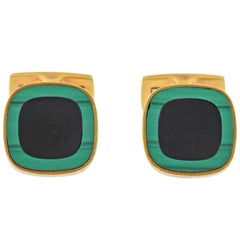 1980s Malachite Onyx Inlay Gold Cufflinks