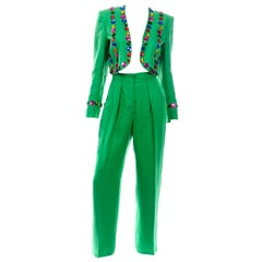 1980s Margaretha Ley Escada Green Linen Jeweled Cropped Jacket & Pants Suit