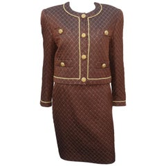 1980's Margaretha Ley for Escada Brown & Gold Silk Quilted Skirt Suit
