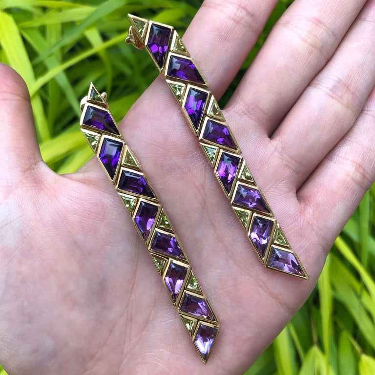 Modernist 1980s Marina B. Amethyst, Peridot and Gold Earrings For Sale