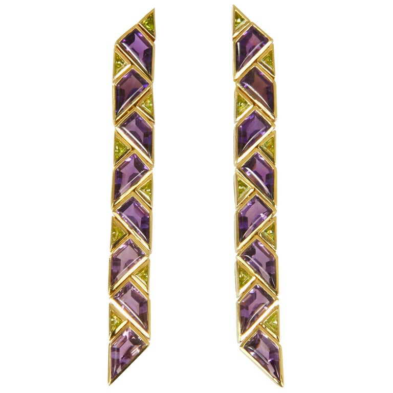 1980s Marina B. Amethyst, Peridot and Gold Earrings For Sale